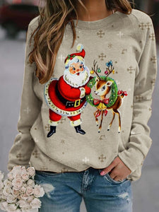 Ladies Santa Elk Print Sweatshirt