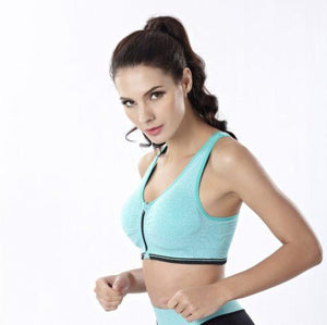 Breathable Zip Front Sports Bra