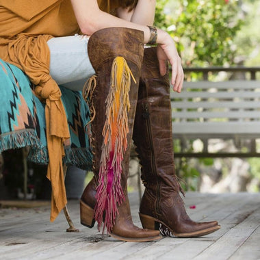 Women's Vintage Tassel Gradient Low Heel Side Zipper Boots
