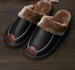 New Winter PU Leather Slippers