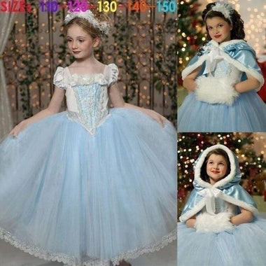 Kids Christmas Dresses Princess Girls Red Costume Cosplay Party Fancy Dress + Cape(4 -11 Years)