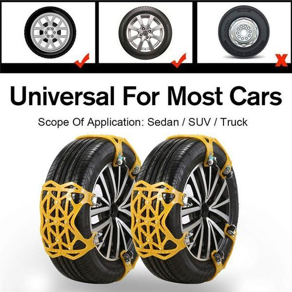 Snow Chains Car Anti Slip Snow Tire Chains Adjustable Anti-Skid Chains Car Tire Snow Chains for Car/SUV/Trucks-Set of 6 Width 165-275mm/6.4-10.9''