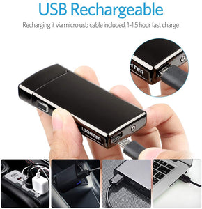 Lighter - Electric Lighter with Battery Indicator USB Rechargeable Windproof Plasma Lighter - S2000 Silver