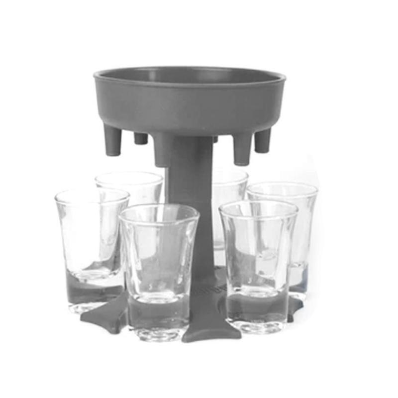 6 cup glass dispenser holder, innovative portable dispenser for wine, whiskey, beer and liquor