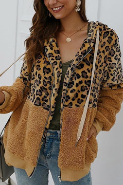 💥【40% OFF】2020 NEW Leopard Zip-Up Patchwork Hooded Coat👚
