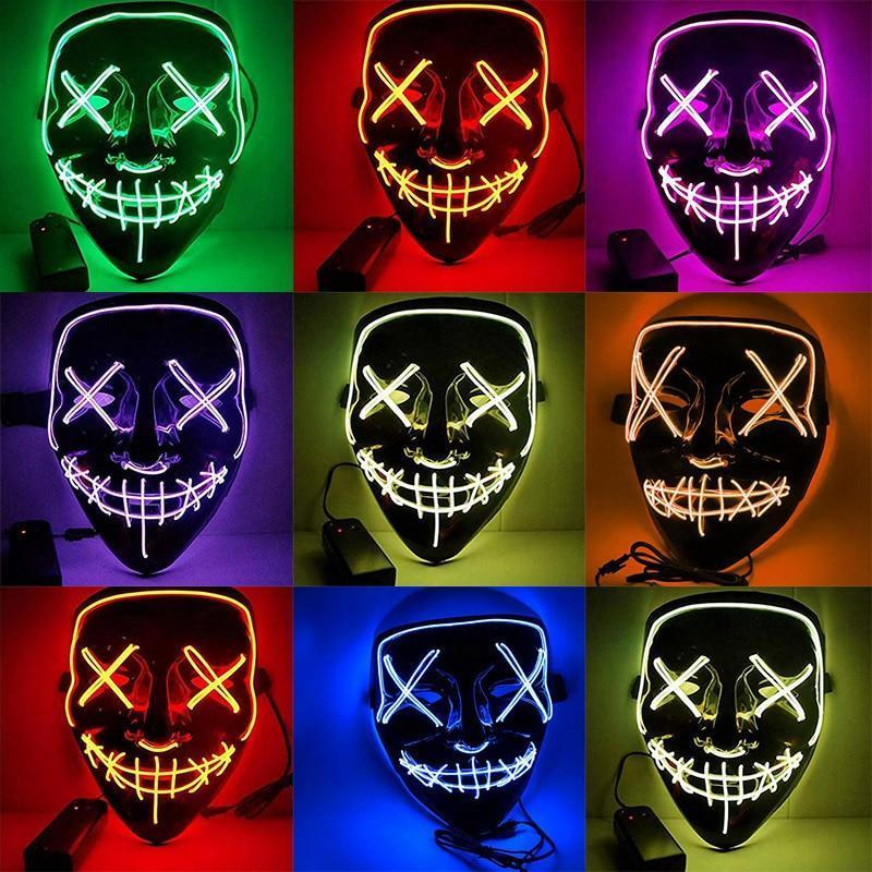 Halloween Mask LED Purge Light Up Party Masks Neon Glow In Dark Horror Maska Cosplay