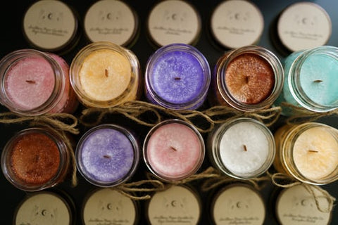 two rows of handmade candles