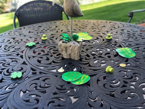 table in backyard with st patricks day decorations