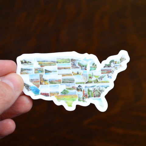 US Map Mini Decal