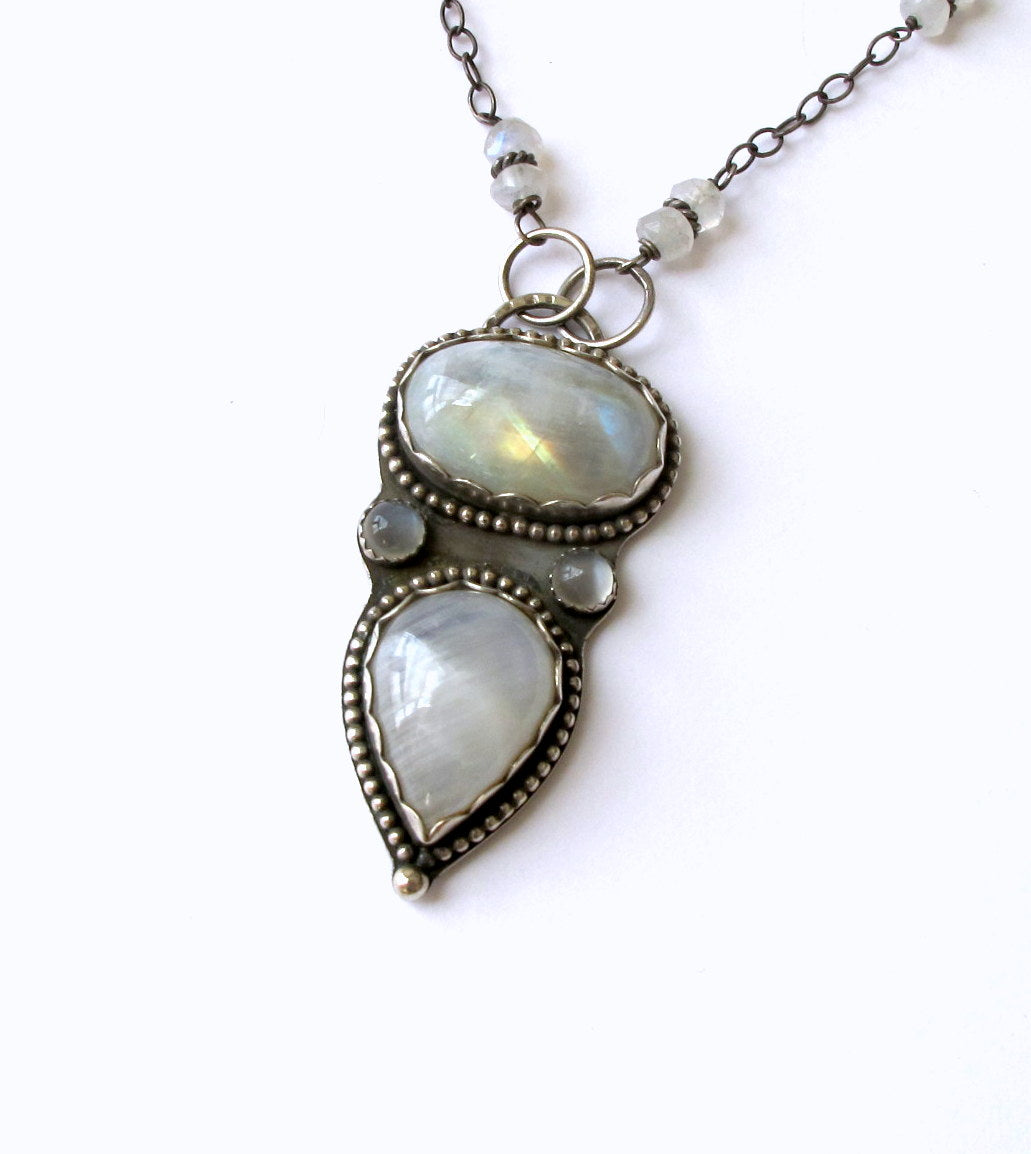 2 Rainbow Moonstone Pendant
