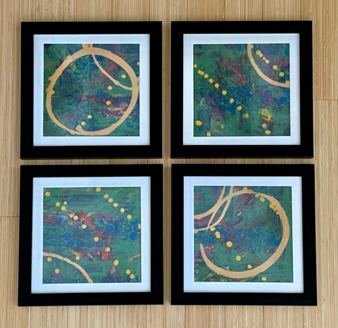 Set of 4 Monoprints Framed