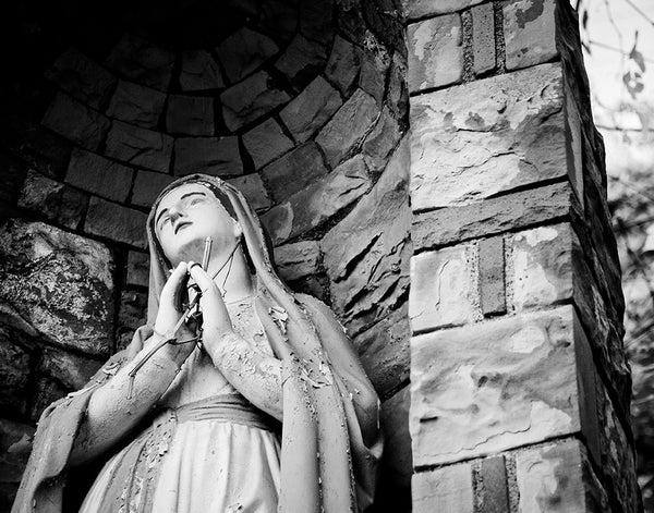 St. Nicholas Croatian Catholic Church: Mary Grotto (b/w)