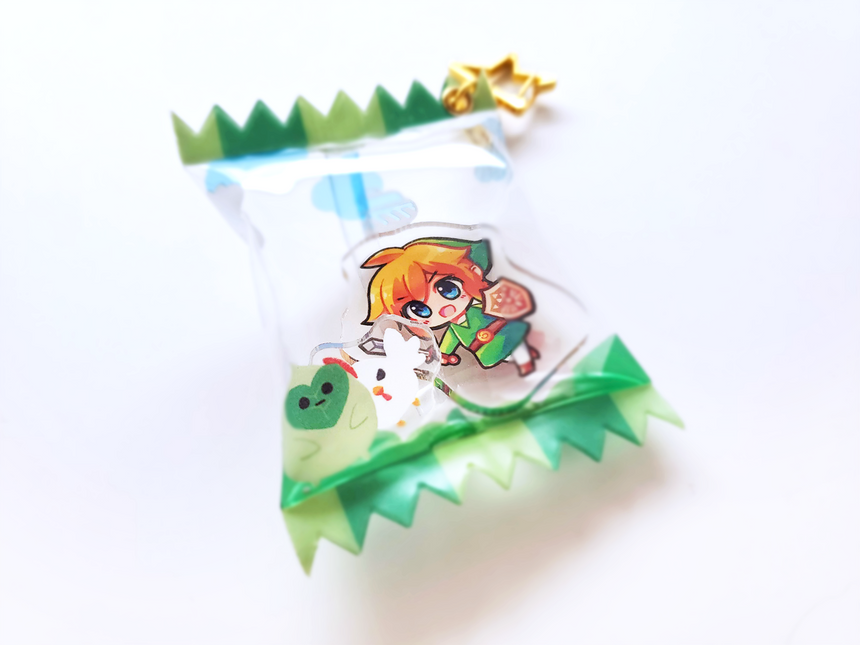 Link and Cucco Candy Shaker Charm Keychain