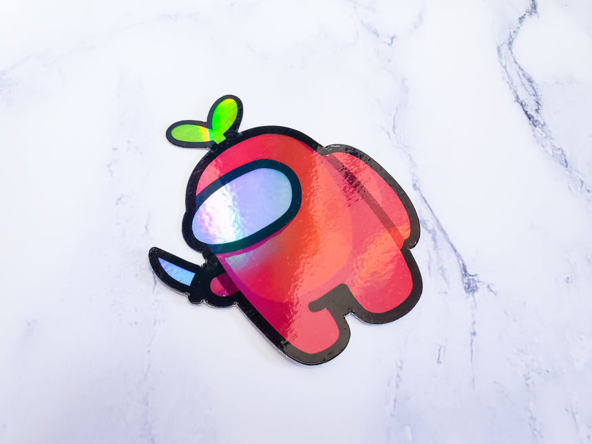 "Among us holographic rainbow 3"" sticker"
