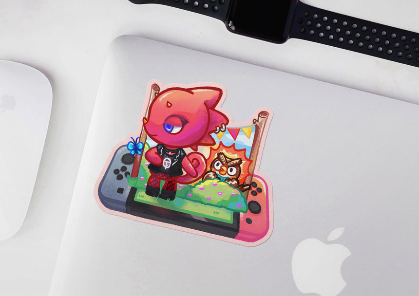 "Flick and Butterfly Animal Crossing 3"" Sticker, Nintendo switch ACNH"