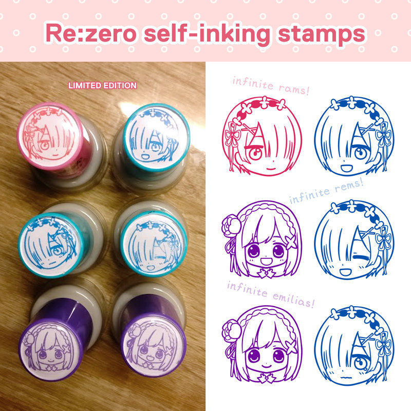 "Re:zero Rem Ram Emilia Self Inking Refillable Stamps | 1"" Happy and Crying Rem 
