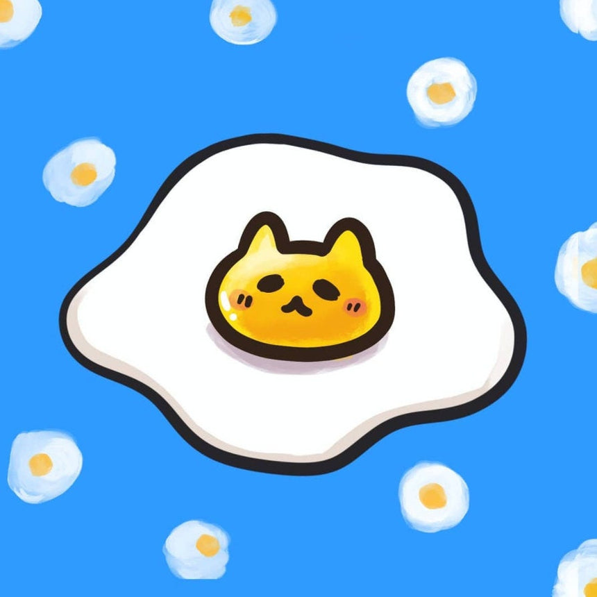 "Fried Egg Cat 3"" Sticker"