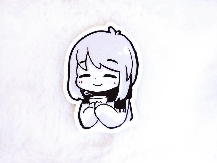 "Kawaii Cozy Tea Girl 3"" Sticker"