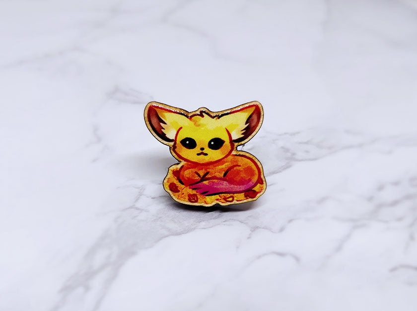 "Sunset Fennec Fox 1"" Wooden Pin"