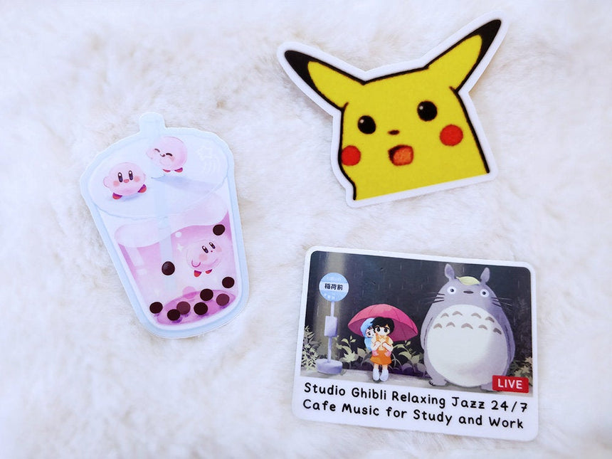 "Kirby Galaxy Boba Milk Tea 3"" Sticker, Kawaii Sticker"