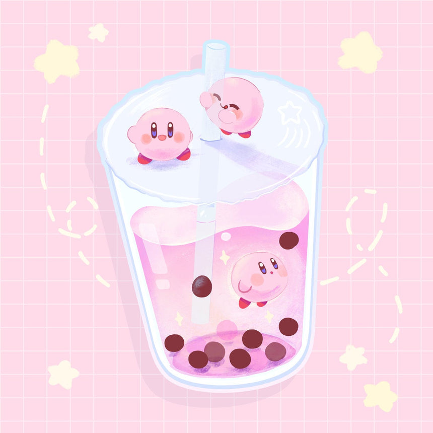 "Kirby Galaxy Boba Milk Tea 3"" hair tie"