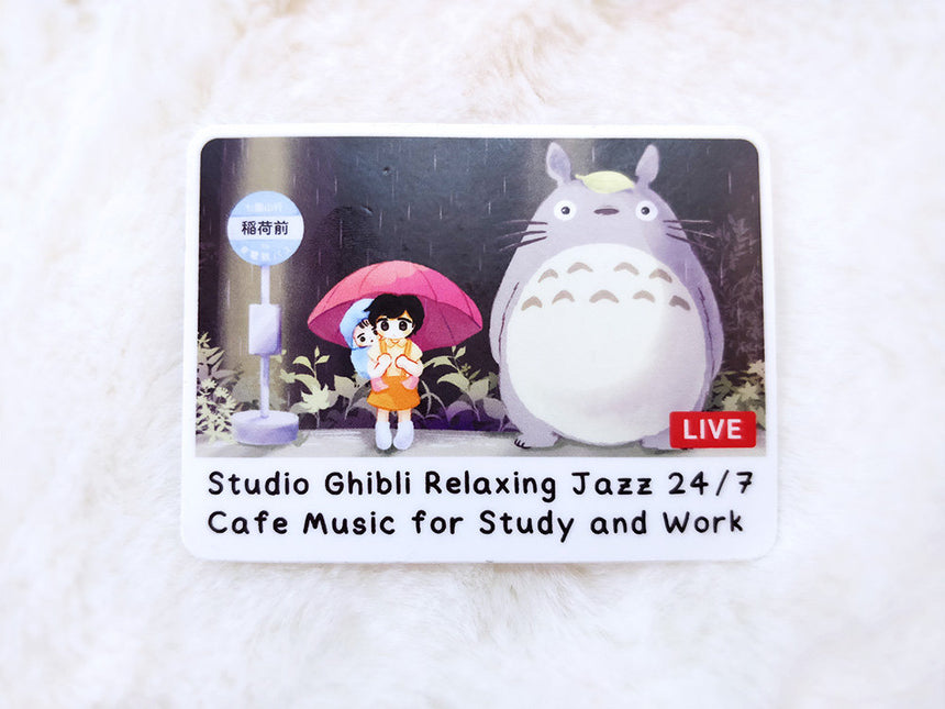 "Studio Ghibli Jazz Relaxing Music 24/7 | 3"" Laptop Sticker Vinyl Decal"
