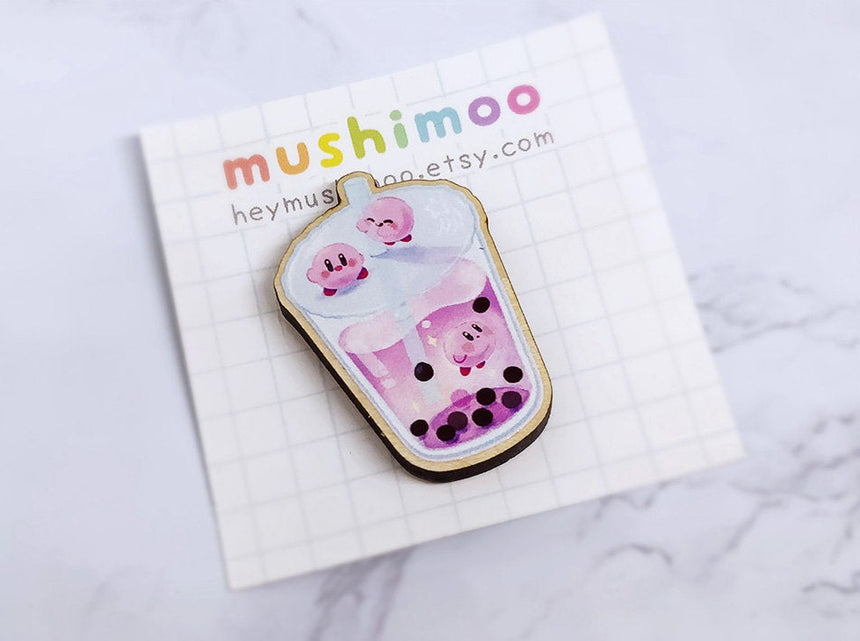 "Kirby Galaxy Boba Milk Tea 1.5"" Wooden Pin, Kawaii Pin"