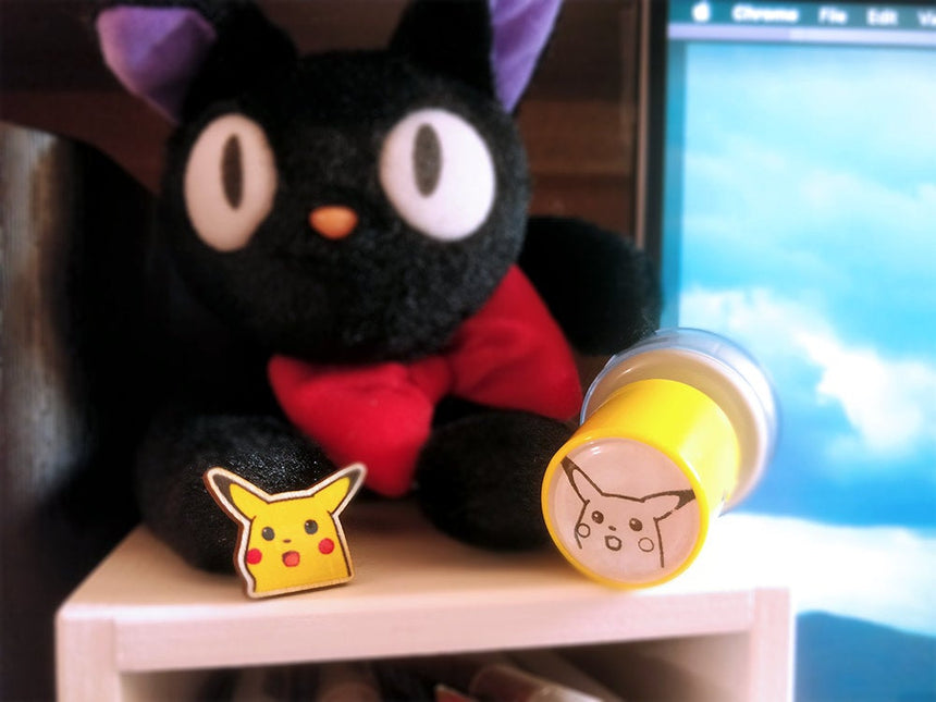 "Surprised Pikachu Shocked Pikachu 1"" Pin, Pokemon meme"