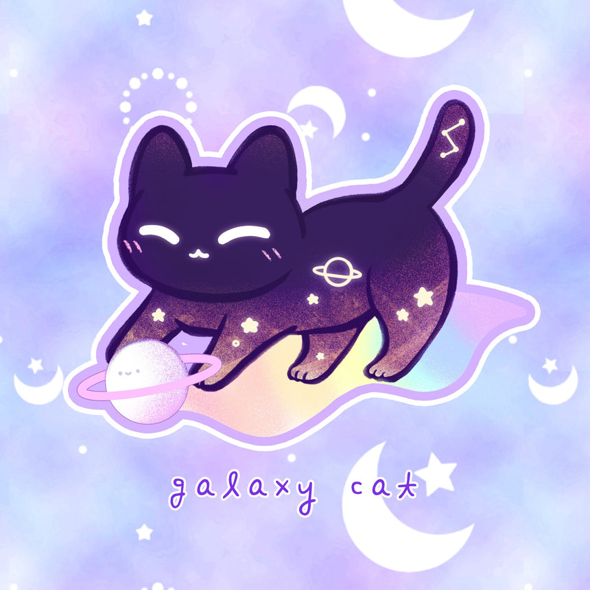 "Kawaii Galaxy Cat 3"" Sticker"