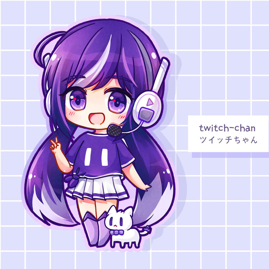 "Twitchchan Mascot Live Stream 3"" Sticker, Kawaii livestream YouTube Streamer"