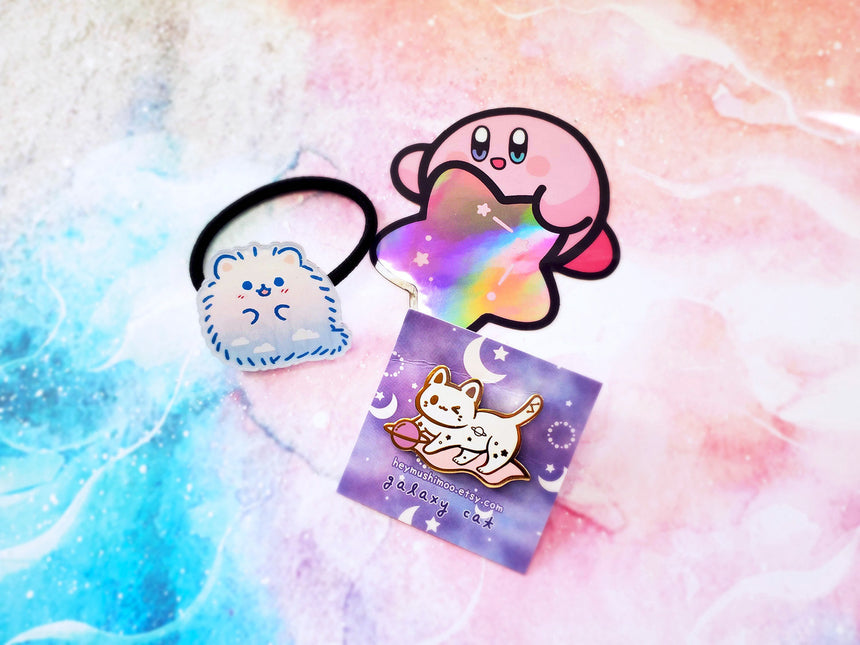 "1.5"" Galaxy Cat Enamel Pin Gold or Rose Gold Kawaii Pin"