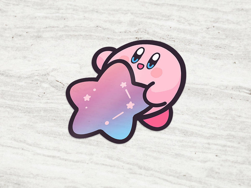 "Kirby Galaxy Holographic Star 3"" Sticker, Kawaii Sticker"