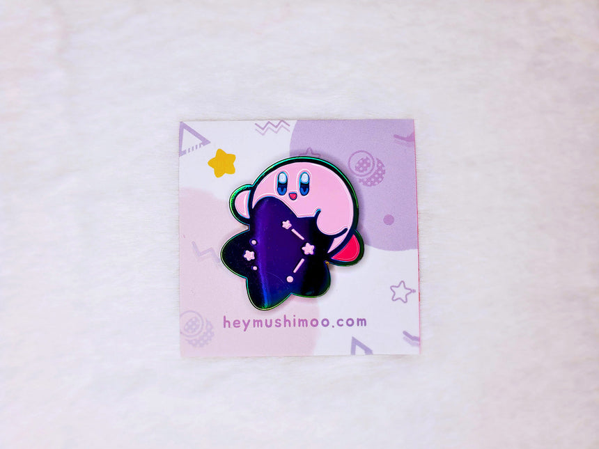"1.5"" Kirby Star Galaxy Rainbow Enamel Pin"