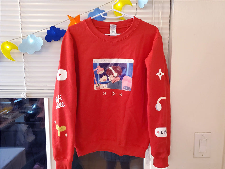 Lofi Hip-hop chill sweater, YouTube, 24/7 Study Beats Relaxing red grey sweater, sleeve print