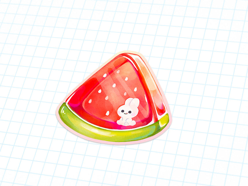 "Watermelon bunny summer 3"" Sticker with kawaii rabbit"