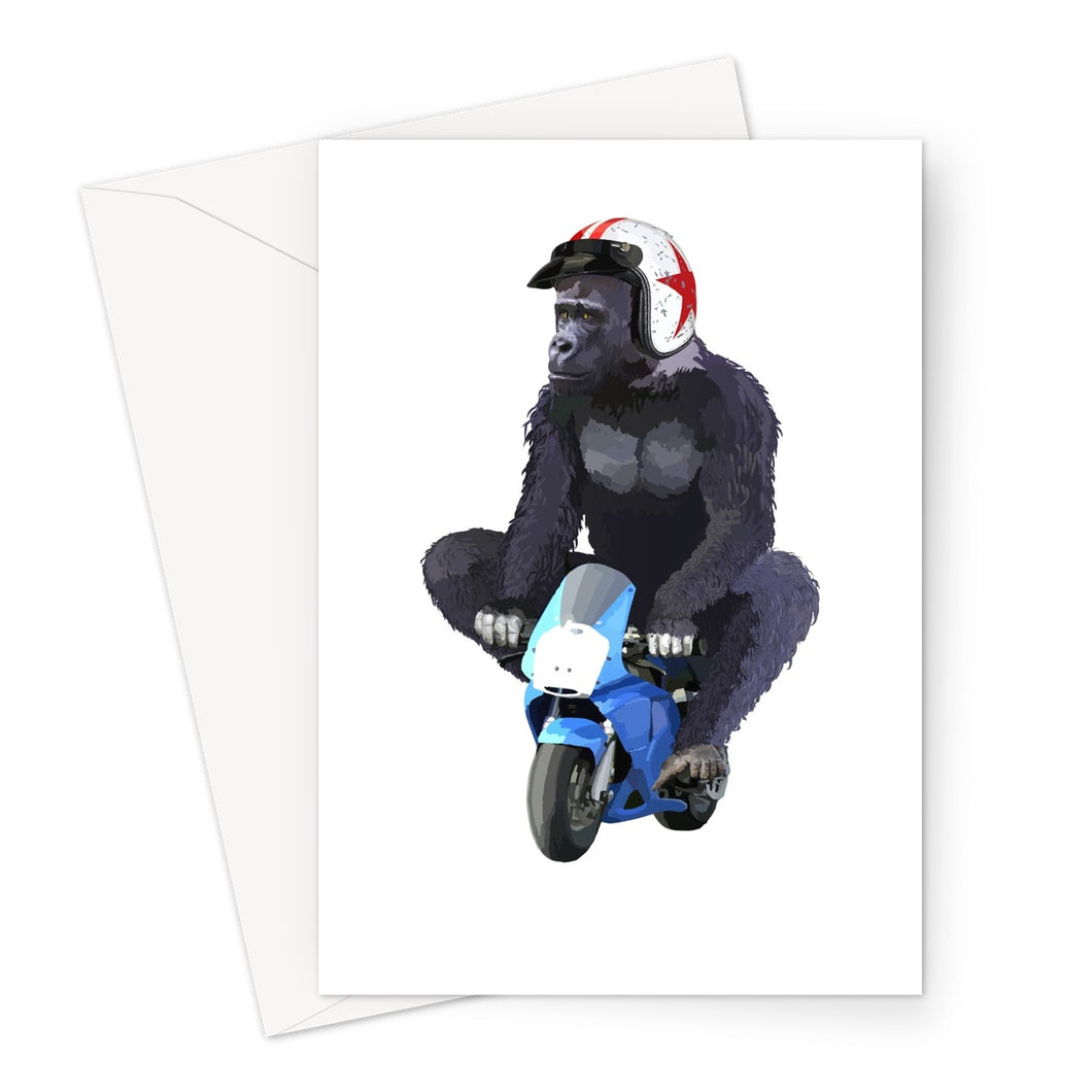 Gorilla Biker Greeting Card