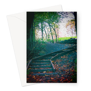 Woodland Steps (oil) Greeting Card
