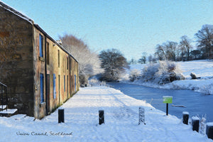 Union Canal Keyside in Winter Greeting Card