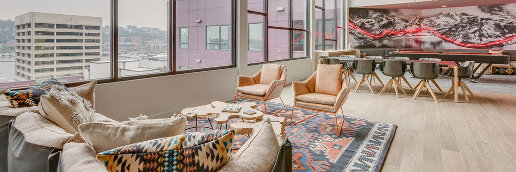 Custom Tribal Boho Rug For Luxury Apartments, The West Lake Steps In  Seattle Washington. | Interior Design By Vida Design | Developed By Holland  Partners ...