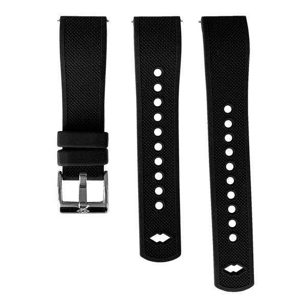 Black Rubber strap with steel buckle