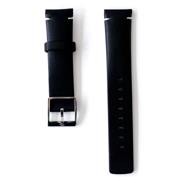 Black leather strap with steel buckle
