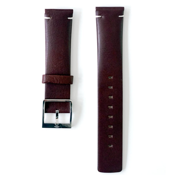 Dark Brown leather strap with steel buckle