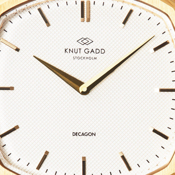 Decagon  | Gold | White Brown leather