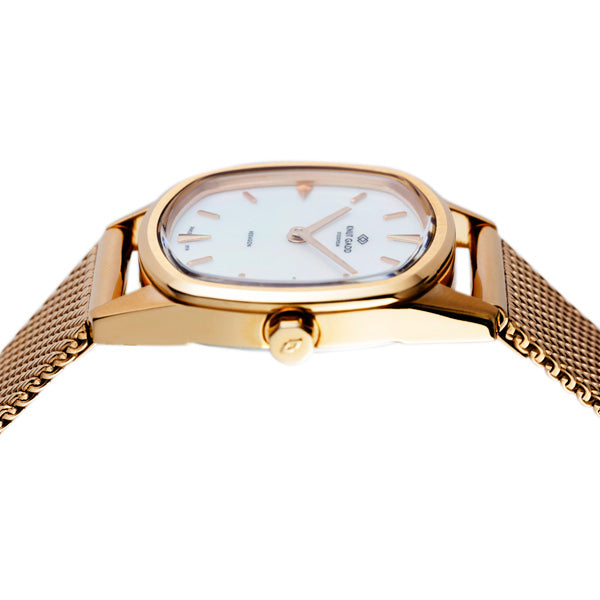 HEXAGON | Rose gold | white mother-of-pearl dial | mesh