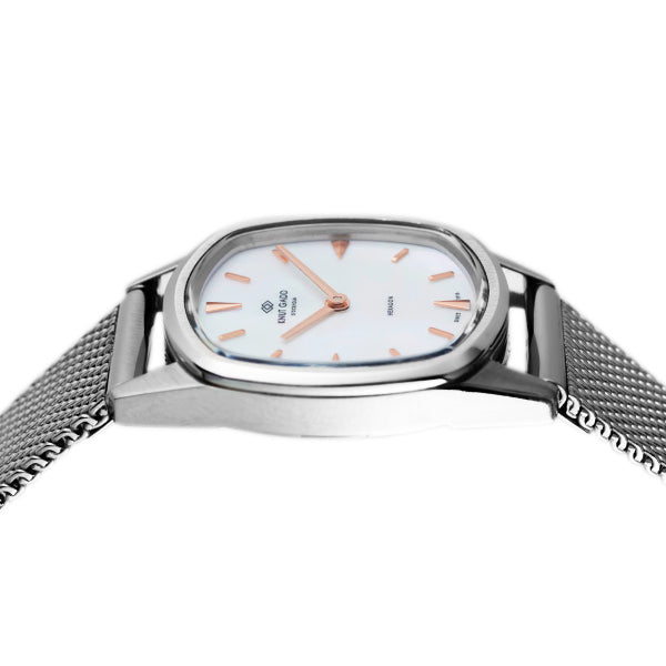 HEXAGON | Steel | white mother-of-pearl dial | Steel mesh