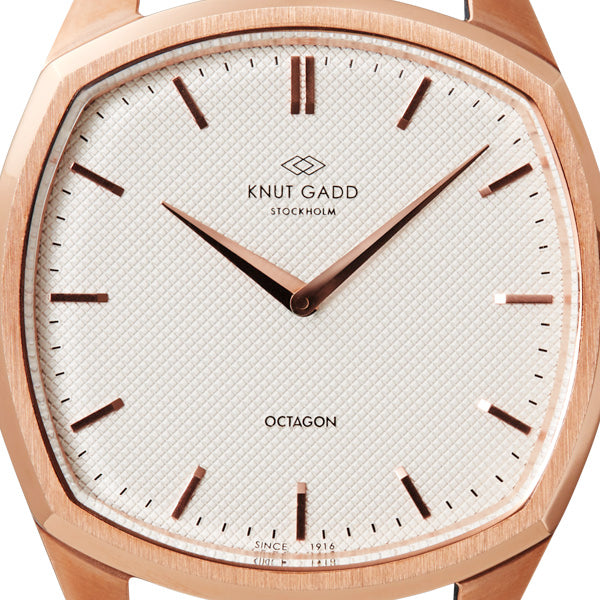 Octagon | Rose Gold |  White White leather