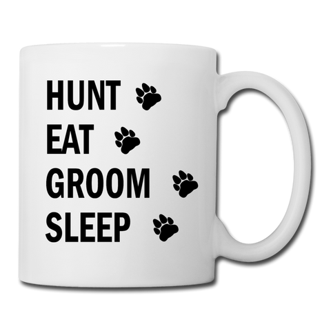 Hunt Eat Groom Sleep Mug (Black Text) - white
