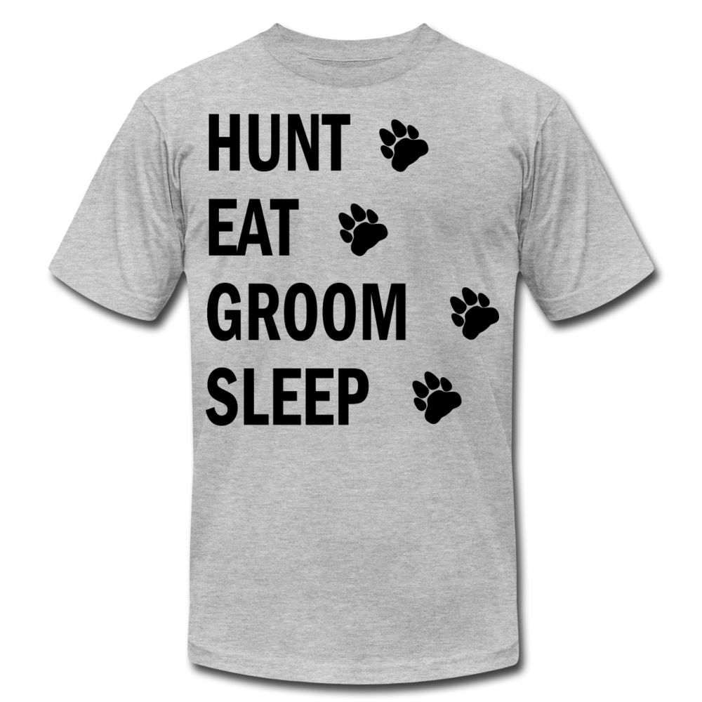 Hunt Eat Groom Sleep Unisex T-Shirt (B) - heather gray