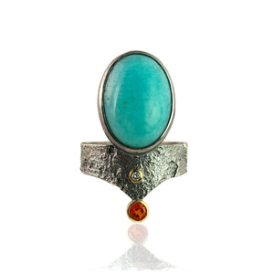 Amazonite Shield Ring