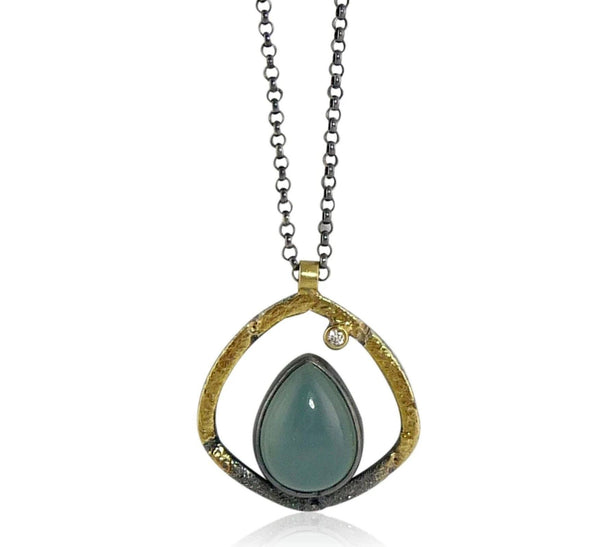 Aqua Chalcedony Pinnacle Pendant